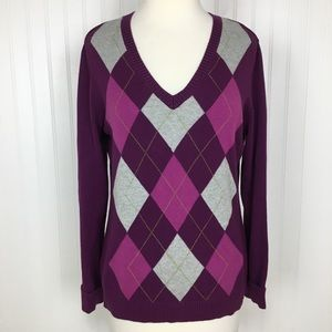 2 for $10 IZOD cotton purple pink sweater v neck M
